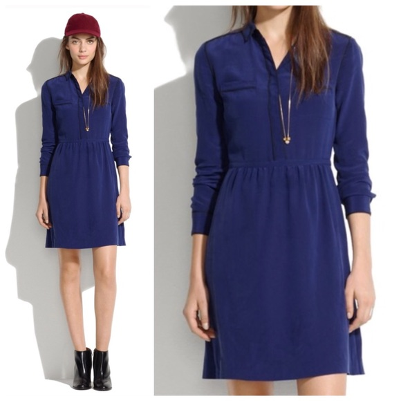 39623f9d3b Madewell Dresses   Skirts - madewell    silk cinema shirt dress navy blue